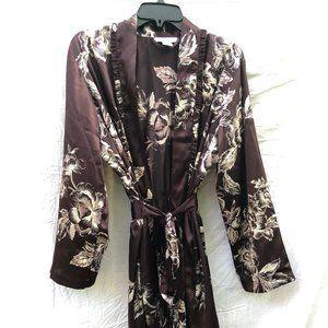 Morgan Taylor Brown Silky Kimono Sz L Floral Robe
